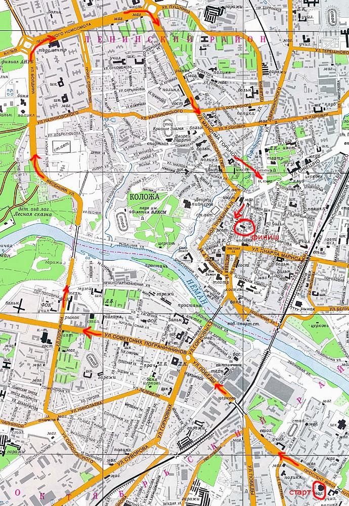 Карта маршрута первой КМ